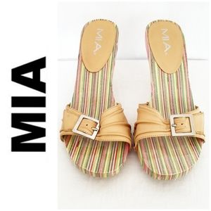 MIA Multi-colored Wooden Sandals w/Tan Strap